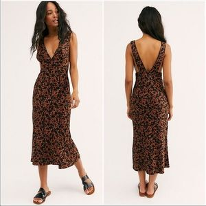 Free People Oh La La Bias Cut Floral Midi Dress